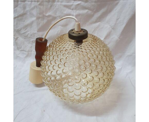 Suspension boule verre fumée de 1970