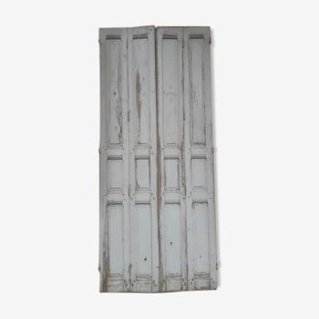 Lot volets, 4 éléments bois massif patiné 1930 - 250cm