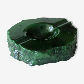 Cendrier onyx vert émeraude, sculpté à la main, millésime des années 1970