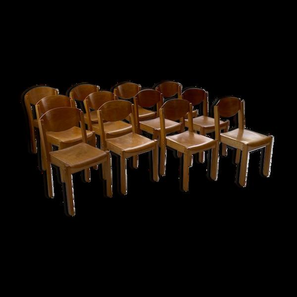 12 chaises hêtre années 80