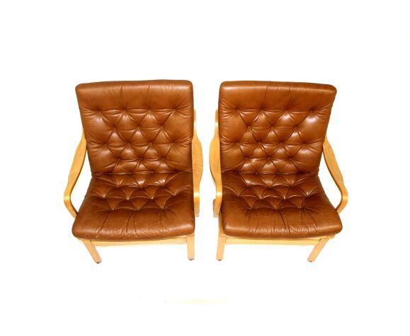 Set de 2 fauteuils en cuir, Suède, 1970