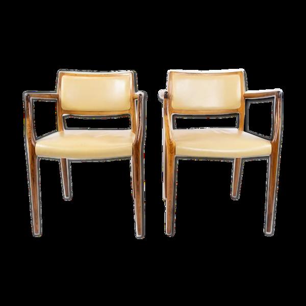 Paire de fauteuils N.O. Moeller, modèle 65, en bois de rose et cuir léger de la fin des années 1960