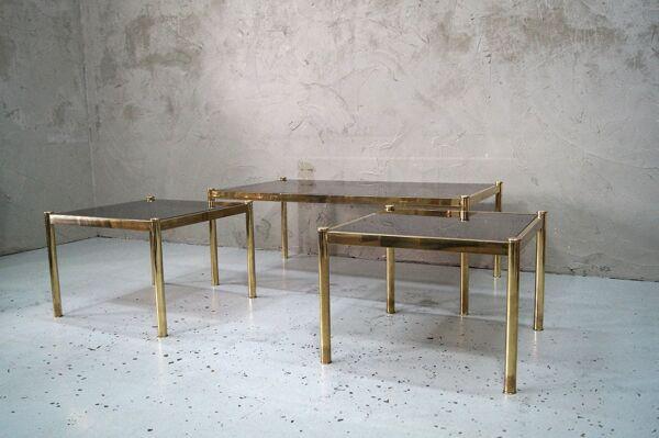 Ensemble de 3 tables basses en laiton minimalistes italiennes, années 1970