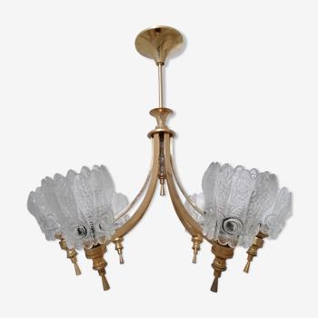 Lustre suspension monture bronze 6 feux lampes tulipes épais verre