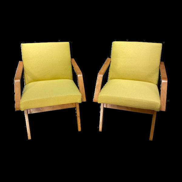 Paire de fauteuils club tchèques légers modernistes vintage 60 '