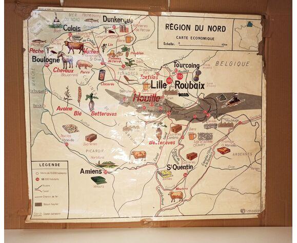 Carte murale d'école ancienne région Metz