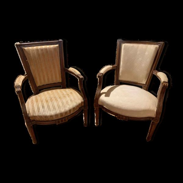 Lot de 2 fauteuils style Louis XVI