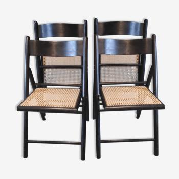 Chaises pliantes bois noir et assise en cannage