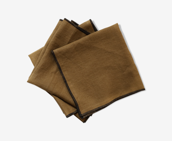 Lot de 4 serviettes camel en lin upcyclé