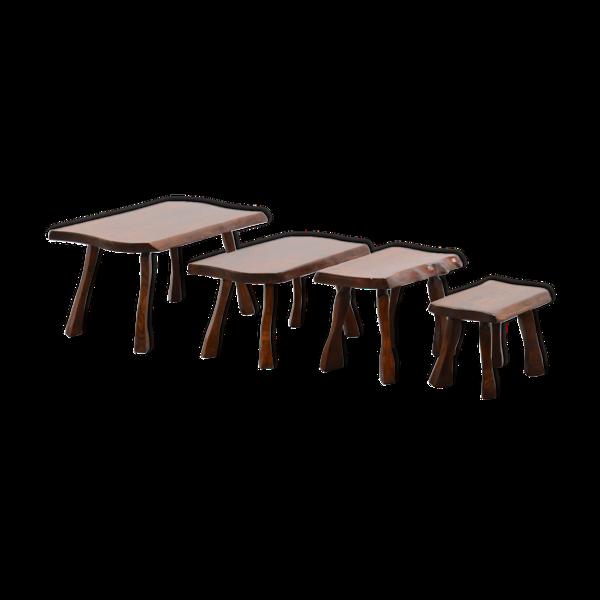 Lot de 4 tables gigognes des années 70