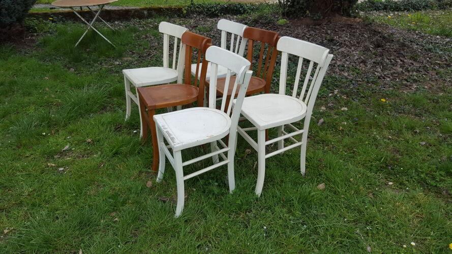 Ensemble de 6 chaises bistrot vintage 50