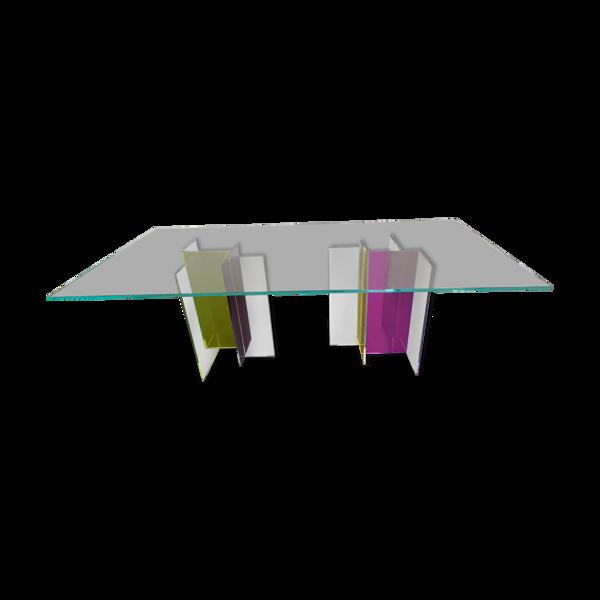 Selency Table sam verre Roche Bobois diapo 220 violet jaune