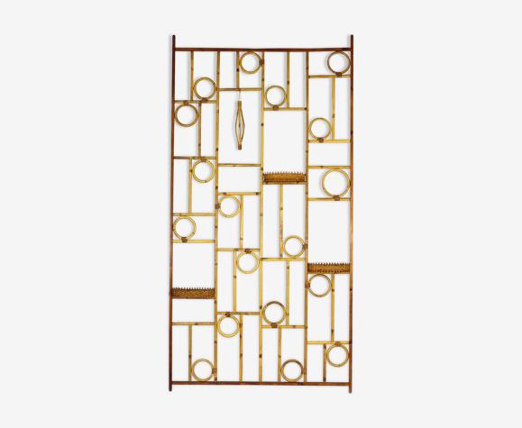 Diviseur vintage de salle de bambou et de rotin, années 70