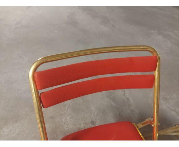 Set de 4 chaises pliantes  vintages en velour