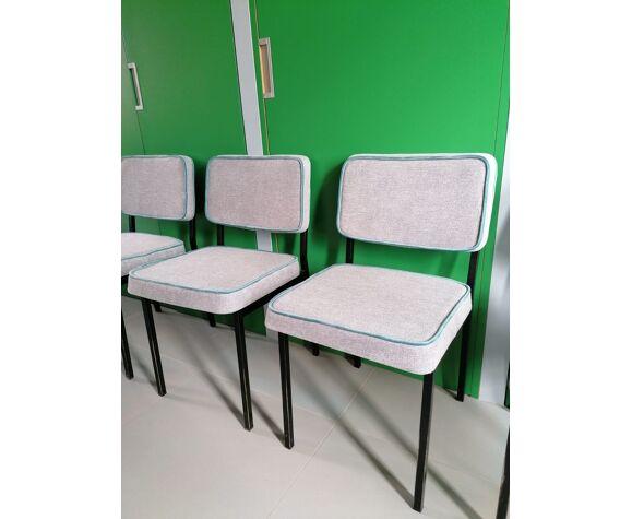 Chaises en métal gris chiné