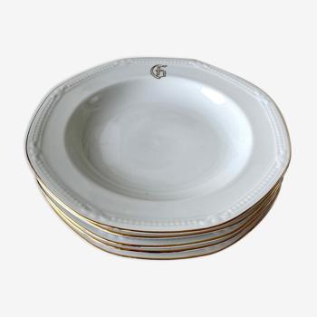 Set de 5 assiettes monogrammées en porcelaine blanche et dorée