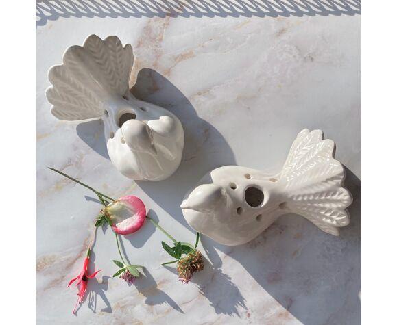 Paire vases pique fleurs oiseau