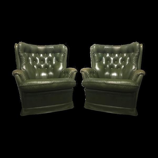 Selency Paire de fauteuils en cuir vert vintage