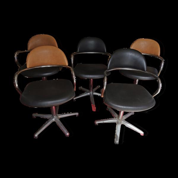 Ensemble de 5 sièges de coiffeur des années 70