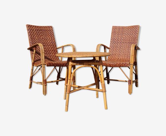 Ensemble rotin vintage paire de fauteuils en rotin tressé et table osier - salon rotin