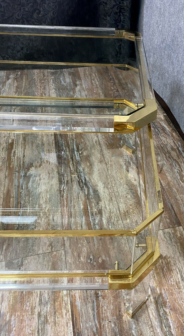 Table à système en verre, laiton doré et altuglass