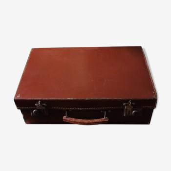Valise vintage marron fermetures métal anse amovible