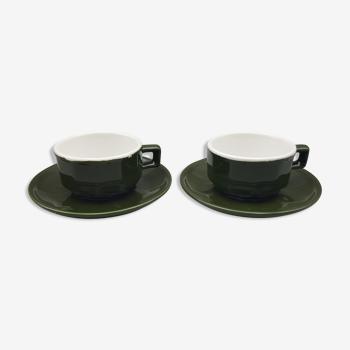 2 tasses à café expresso vertes bistrot céramique avec soucoupes
