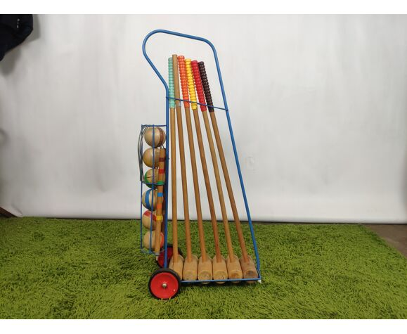 Vintage croquet game with trolley