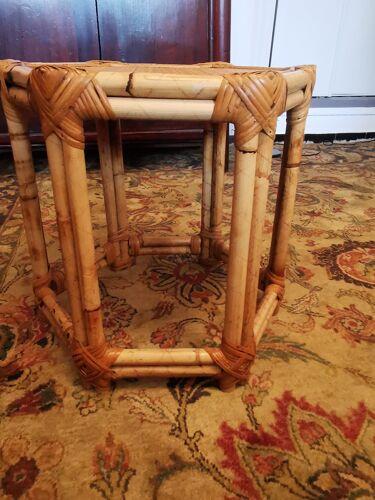 Table d'appoint gueridon en rotin