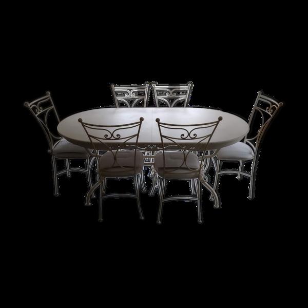 Ensemble table & 6 chaises fer, bois blanc cassé