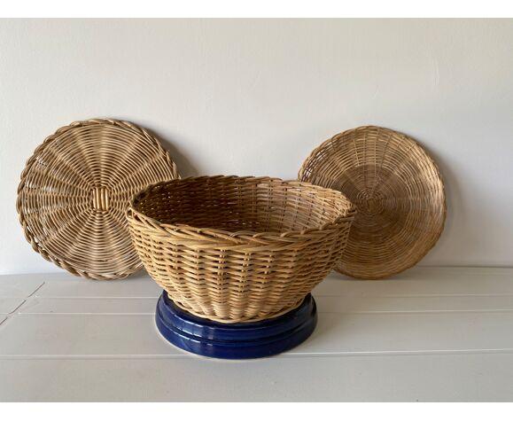 Corbeille cache-pot artisanal en rotin osier
