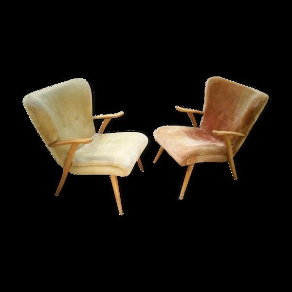Selency Lot de 2 fauteuils Wing chair Zig Zag