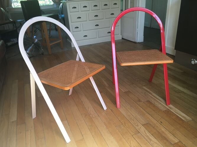 Lot de 2 chaises pliantes métal et cannage Cattelan Italia pour Cidue