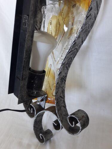 Applique fer forgé et verre