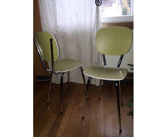 Paire de chaises en formica verte