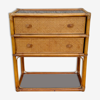 Commode rotin et cannage années 70