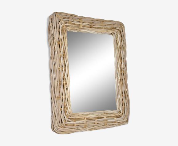 miroir rotin bambou 52 cm x 42 cm