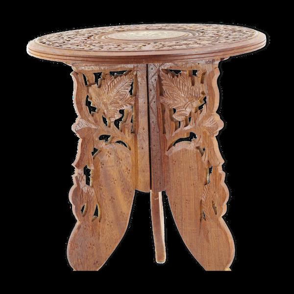 Table bois indienne sculptée