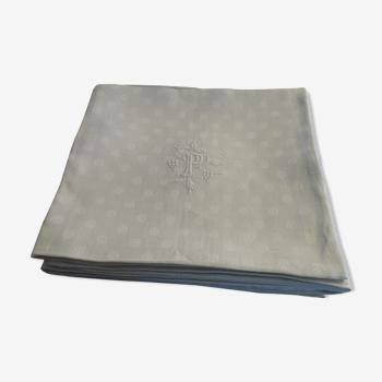 Lot 6 serviettes de tables brodées coton damassé à monogramme P 76 cm sur 72 cm