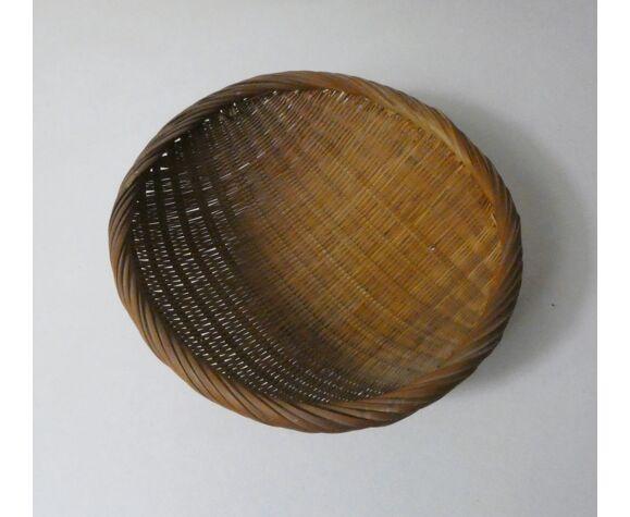 Corbeille en rotin panier ethnique vintage