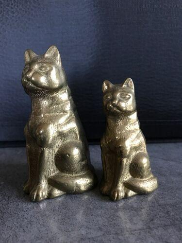 Paire de chats duo vintage en laiton