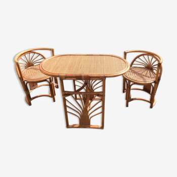 Table/rattan chair set