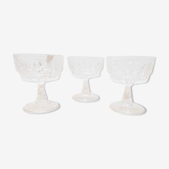 Set 3 coupes champagne verre ciselé