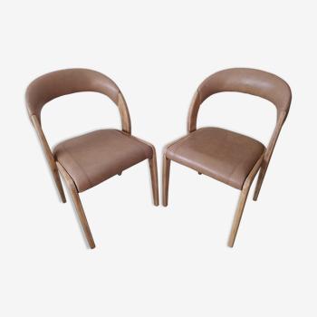 Paire de chaises Baumann gondole cuir