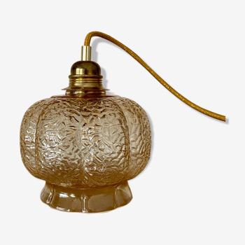 Baladeuse globe vintage en verre ambré