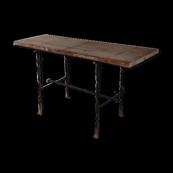 Selency Table de métier d'office bois et fer forgé XIX
