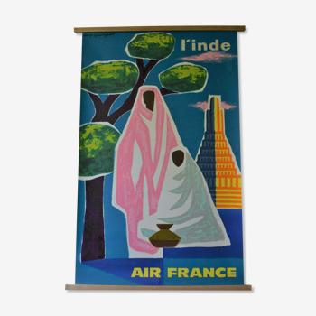 Affiche originale Inde avec cadre en bois, Air France