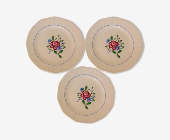 Lot de 3 assiettes dessert vintage Digoin Sarreguemines en porcelaine