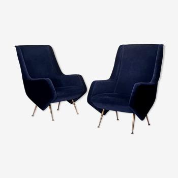Paire de fauteuils Italiens Aldo Morbelli pour Isa Bergamo - Bleu Nuit - Ca 1950