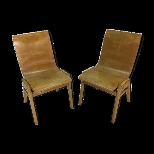 Paire de chaises vintage en contreplaqué par Roland Rainer